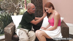 Cute redhead likes old man cock inside her