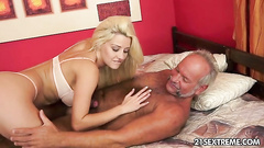 Dirty old man blown by a busty blonde girl