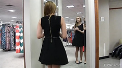 Dressing room masturbation with a hot teen