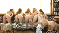 Five lesbian cunts and assholes licked
