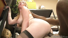 Black cock in her hairy cunt from behind
